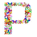The letter P made up of lots of butterflies of different colors