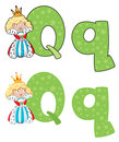 Letter Q queen Royalty Free Stock Photo