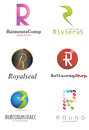 Letter r logo alphabetical design concepts Stock Image