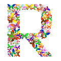 The letter R made up of lots of butterflies of different colors