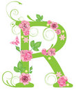Letter R with roses Royalty Free Stock Photography