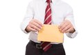 Letter of recommendation business man hands him an envelope for corruption Stock Images
