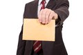 Letter of recommendation business man hands him an envelope for corruption Royalty Free Stock Images