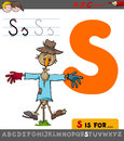 Letter s with cartoon scarecrow Royalty Free Stock Photo