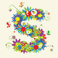 Letter S, floral design Royalty Free Stock Photo