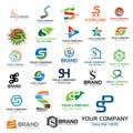 Letter S logo set. Set of colorful S letter symbols Royalty Free Stock Photo