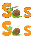 Letter S snail Royalty Free Stock Images