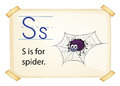 A letter s for spider on white background Royalty Free Stock Images