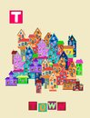 Letter T. Cute cartoon english alphabet with colorful image and word.