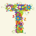 Letter T, floral design Royalty Free Stock Photo