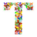 The letter T made up of lots of butterflies of different colors