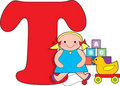 Letter T with Toys Stock Photo