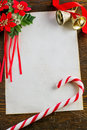 Letter to santa claus with christmas decorations Royalty Free Stock Photography