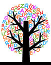Letter tree of knowledge filled with colorful letters Stock Photos