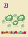 Letter U. Cute cartoon english alphabet with colorful image and word.