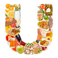 Letter U made of food Royalty Free Stock Images