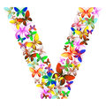 The letter V made up of lots of butterflies of different colors