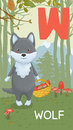 Letter w animal abc animals wolf in autumn forest alphabet card Stock Image