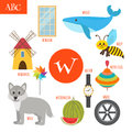 Letter W. Cartoon alphabet for children. Watermelon, whale, wolf Royalty Free Stock Photo