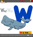 Letter w with cartoon whale animal Royalty Free Stock Photo