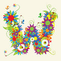 Letter W, floral design. Royalty Free Stock Photo