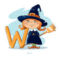 Letter W with funny Witch Royalty Free Stock Photo