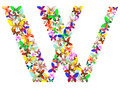 The letter W made up of lots of butterflies of different colors