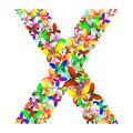 The letter X made up of lots of butterflies of different colors
