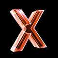 Letter X in red glass 3D Royalty Free Stock Photo