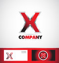 Letter X red logo metal games Royalty Free Stock Photo