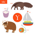 Letter Y. Cartoon alphabet for children. Yo-yo, yak, yacht, yogu Royalty Free Stock Photo