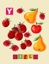 Letter Y. Cute cartoon english alphabet with colorful image and word.
