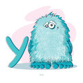 Letter y with funny yeti cartoons alphabet Royalty Free Stock Image