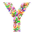 The letter Y made up of lots of butterflies of different colors
