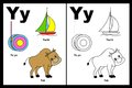 Letter Y worksheet Stock Photo