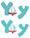 Letter Y yacht Royalty Free Stock Photo