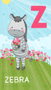 Letter z animal abc animals zebra with flowers in summer field alphabet card Stock Photos