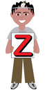 Letter z boy alphabet kids available as a vector or raster illustration Stock Photography