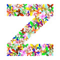 The letter Z made up of lots of butterflies of different colors