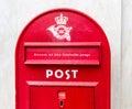 Letterbox traditional red in copenhagen denmark Stock Photo