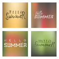 Lettering and calligraphy halftone modern - Hello summer On a blurred gradient background . Sticker, stamp, logo - hand