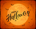 Lettering Happy Halloween on orange grunge background with Moon