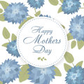 Lettering Happy Mothers Day. Hand-drawn card with flower. Round banner with spring plants, leaves and flowers decoration