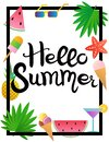 Lettering. Hello Summer. Watermelon, pineapple, ice cream, glasses, cocktail, starfish and palm leaves.