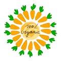 Lettering 100% organic with vector illustration of carrot. Logo, stamp. Healthy, fresh, organic, eco food. Vegetables, harvest. Ve