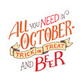 Lettering quote about october. Lettering composition.