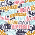 Lettering seamless pattern with word hello in different languages Royalty Free Stock Photo