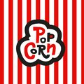 Lettering Sticker Popcorn on striped red and white background. Hand drawn vector sign Royalty Free Stock Photo