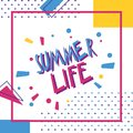 Lettering summer life. Abstract vector, hand drawing illustratio Royalty Free Stock Photo