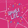 Lettering summer life. Abstract vector, hand drawing typography Royalty Free Stock Photo